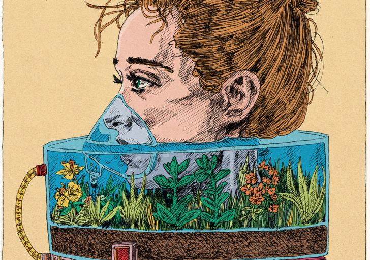 Retratos con tapabocas surreales por Kit Layfield