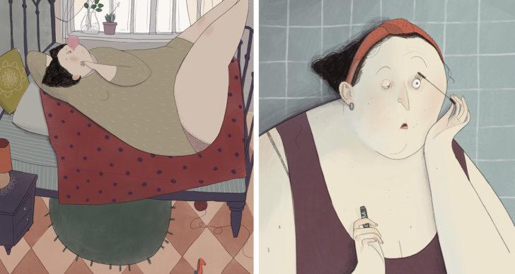 Las pinturas de Giulia Pintus muestran a personas con cuerpos positivos