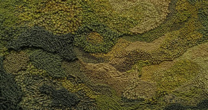 Laberintos de musgo y densos bosques bordados por Litli Ulfur