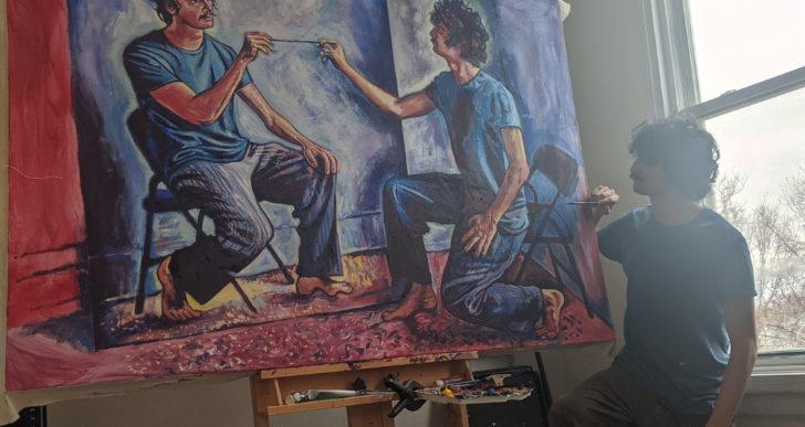 Este artista se pinta a sí mismo pintándose a sí mismo