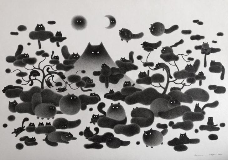 Kamwei Fong ilustra una pequeña utopía de gatos negros esponjosos