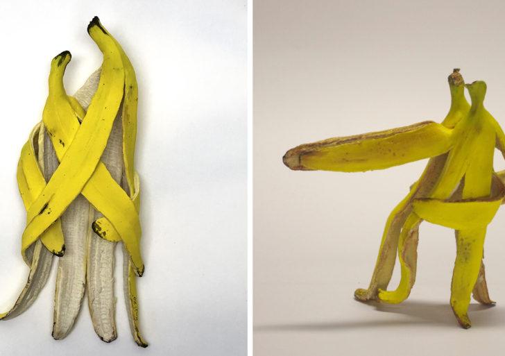 Divertidas y peculiares esculturas de plátanos
