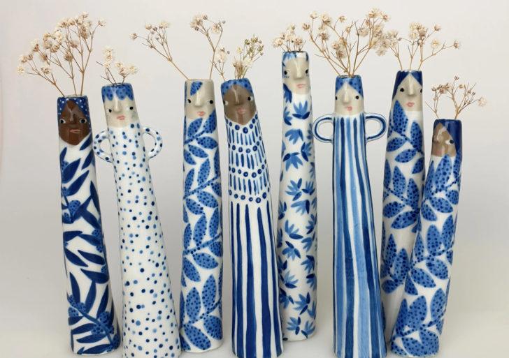 Estas vasijas están conformadas por divertidos personajes pecosos