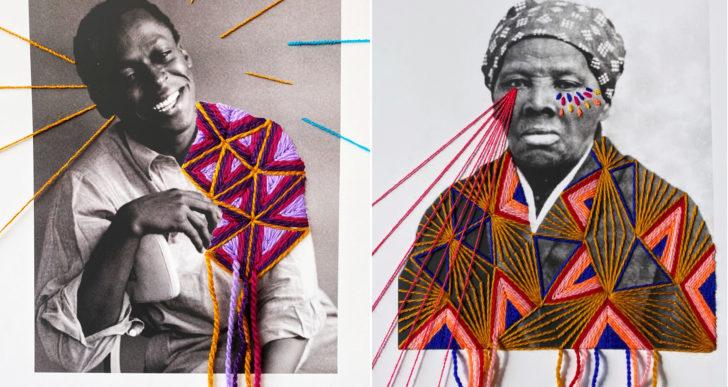 Hilos coloridos y geométricos resaltan estas fotografías históricas