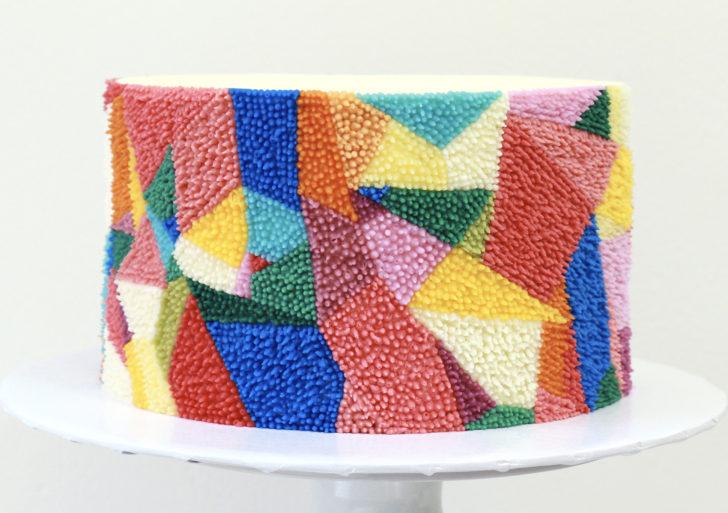 Pasteles decorados con patrones y texturas como de tapete