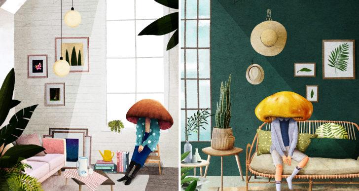 Divertidos personajes con cabezas de hongo por Ceci Lam