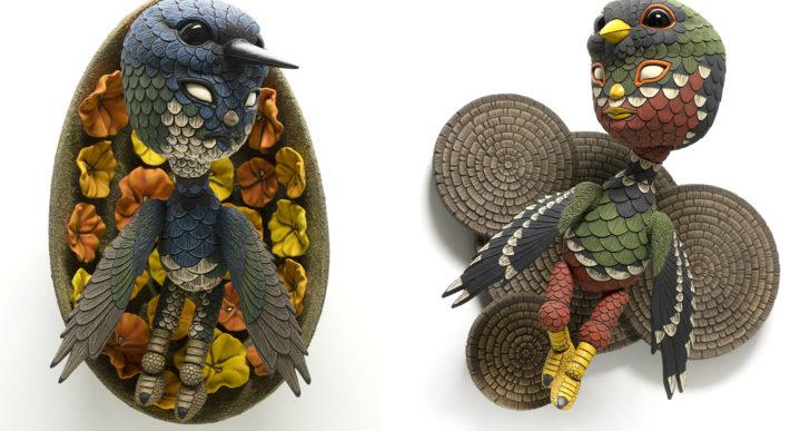 Curiosos personajes disfrazados como búhos por Calvin Ma