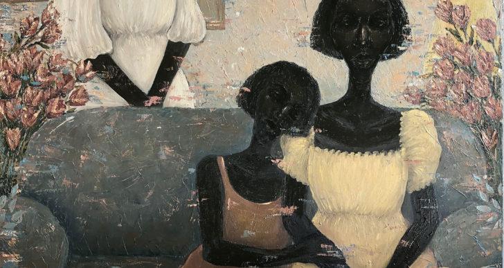 Elegantes pinturas de óleo de mujeres sombrías por Chidinma Nnoli