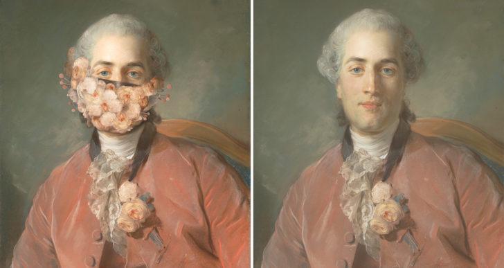 Retratos clásico rehechos con máscaras y tapabocas por Volker Hermes