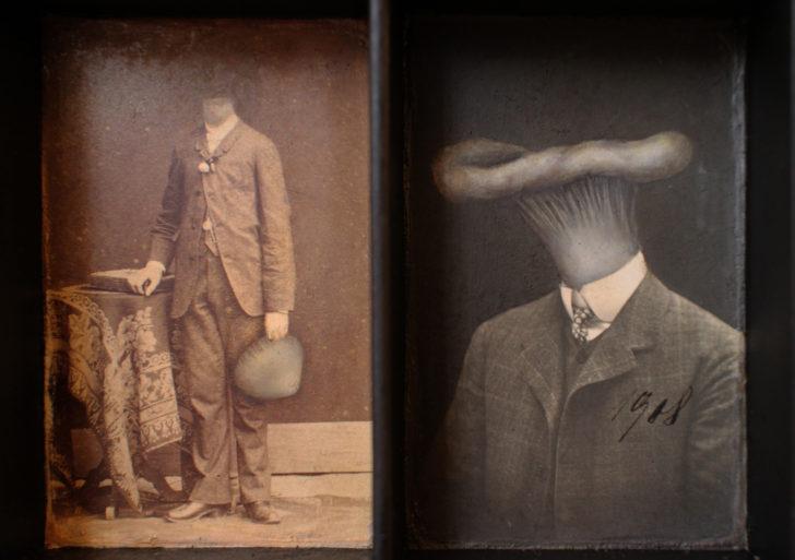 Un árbol genealógico de gente con cabeza de hongos por Jana Paleckova