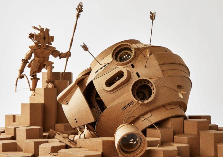 Figuritas futuristas de cartón por Greg Olijnyk