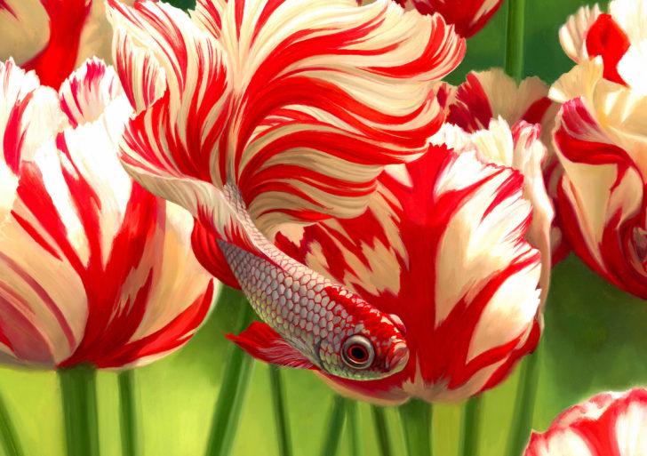 La flora y la fauna se vuelven uno en estas pinturas