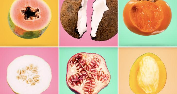 Rítmico corto muestra el interior de frutas tropicales