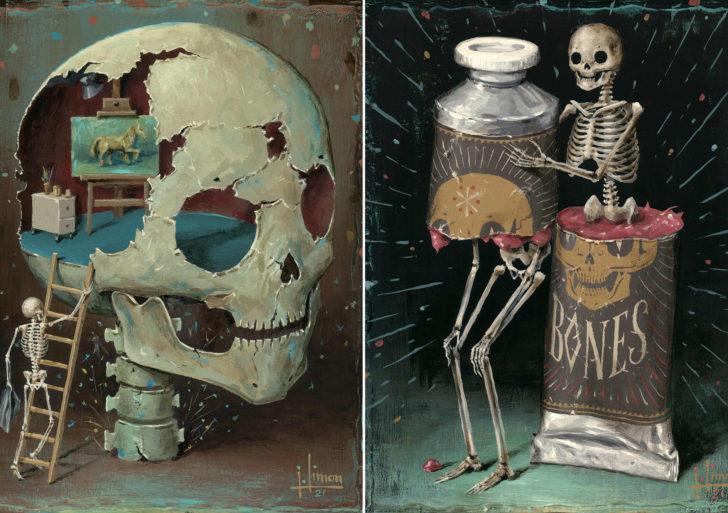 Pinturas de esqueletos en situaciones extrañas por Jason Limon