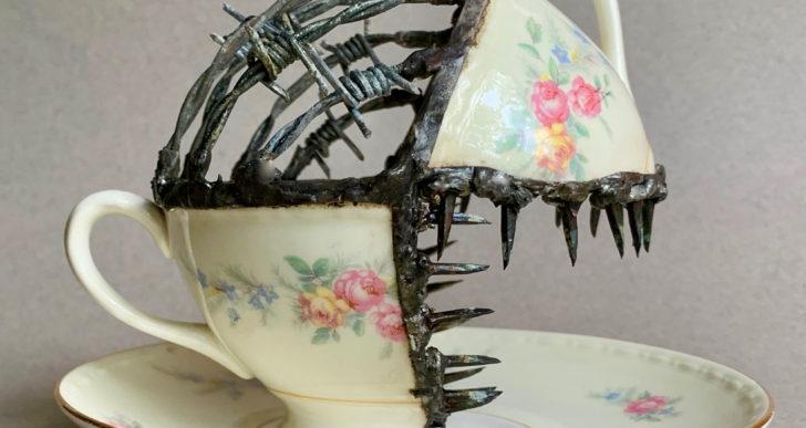 Glen Taylor une vajilla de porcelana con puas y metal soldado
