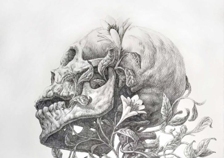 Plantas y flores se enredan en un esqueleto por Guno Park