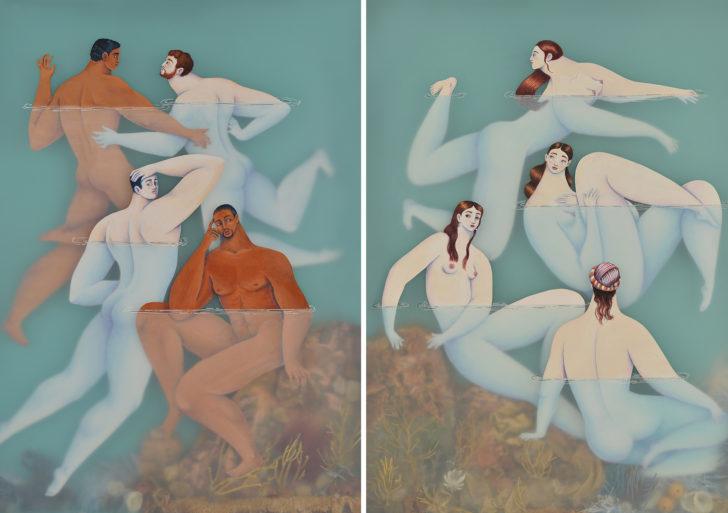 Elegantes figuras nadan en agua en las obras de Sonia Alin