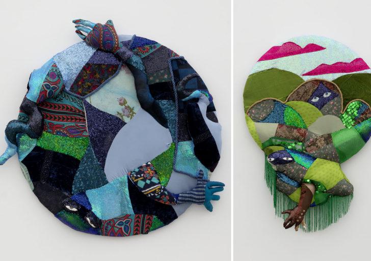 Obras hechas con lentejuelas, parches de telas y pinturas de óleo