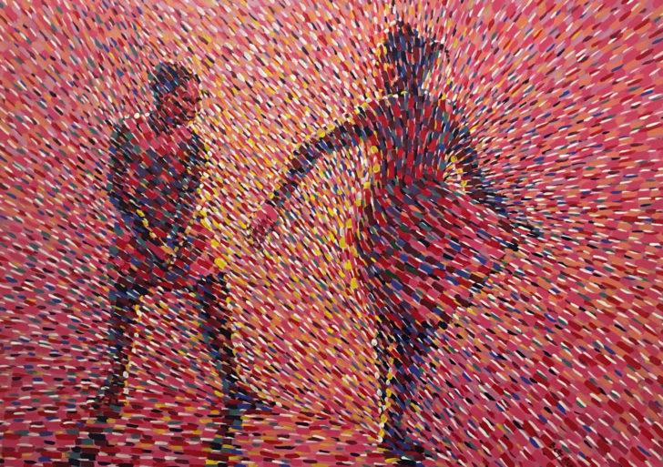 Betty Acquah pinta danzantes con innumerables puntos de colores